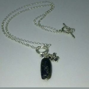 Sterling Silver Lapis Labradorite Iolite Necklace